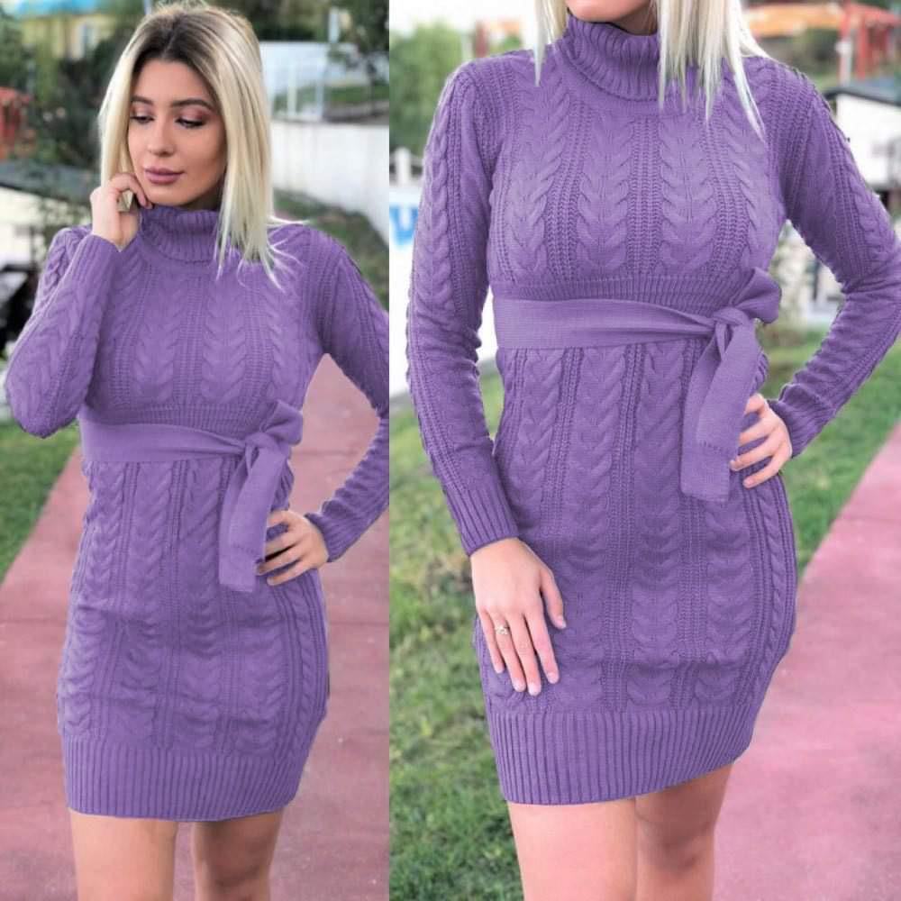 Rochie mov lavanda scurta din tricot pentru iarna