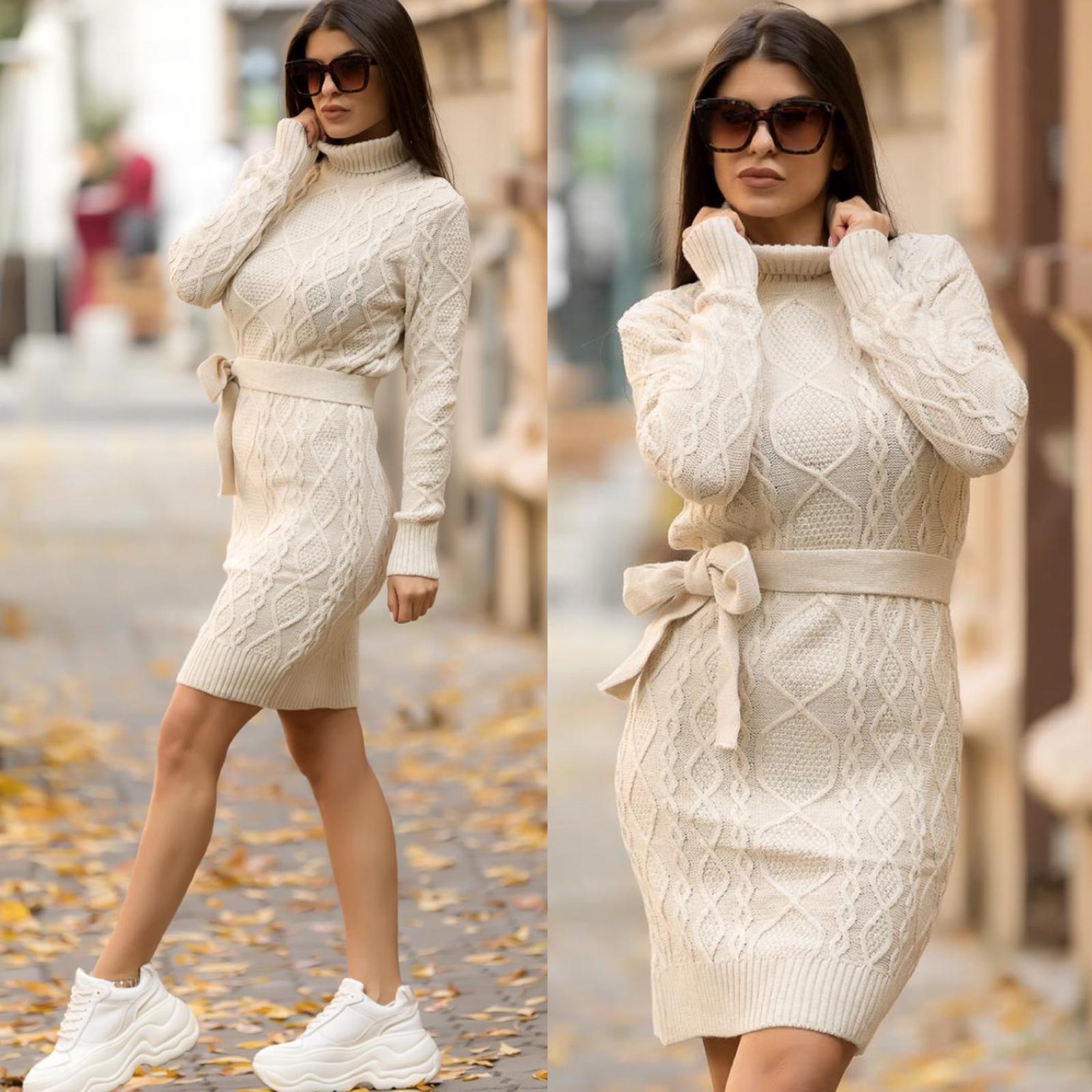Rochie alba scurta cu decupaj din tricot pentru iarna