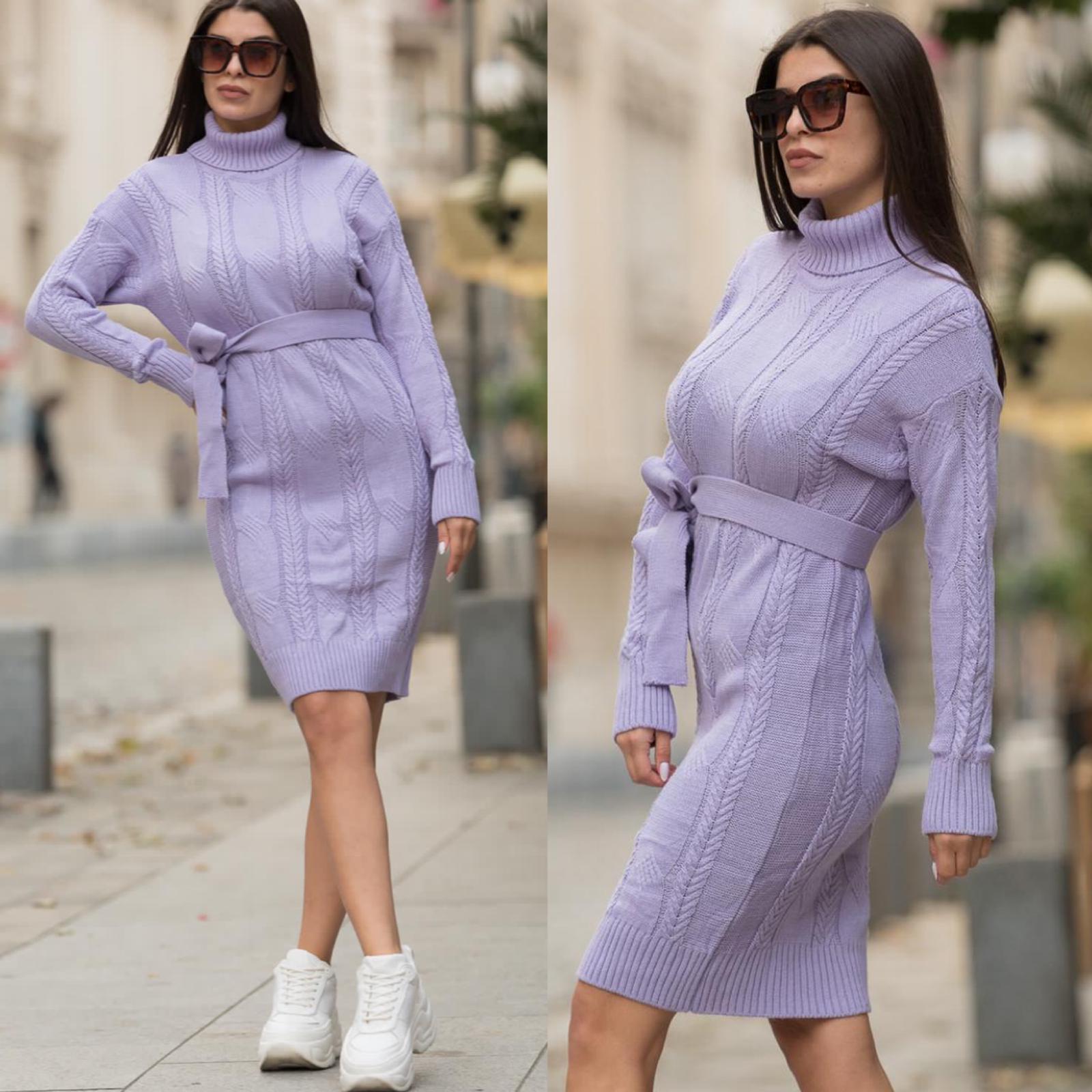 Rochie scurta mov din tricot pentru iarna cu cordon