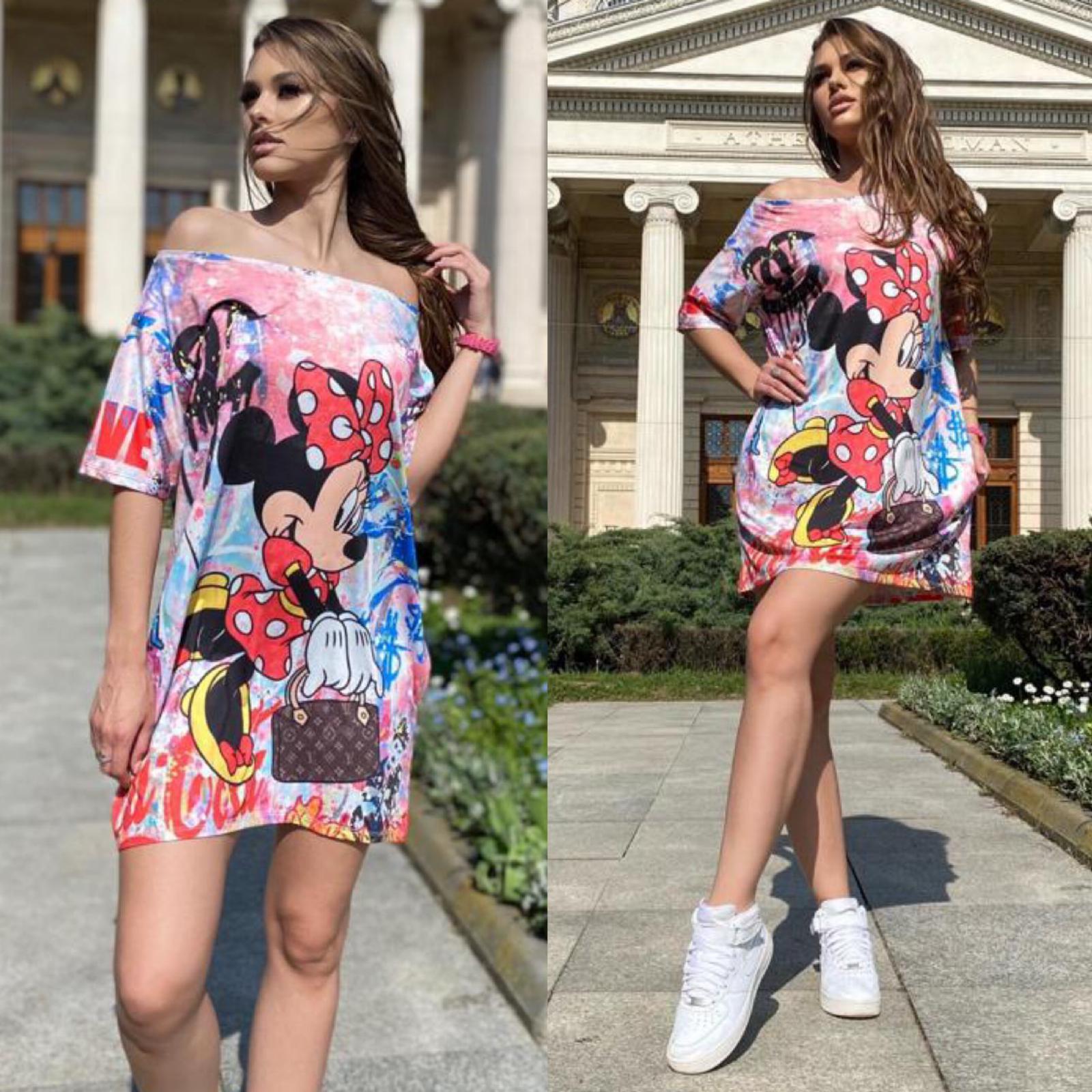 Rochie scurta de vara multicolora cu imprimeu Minnie Graffiti