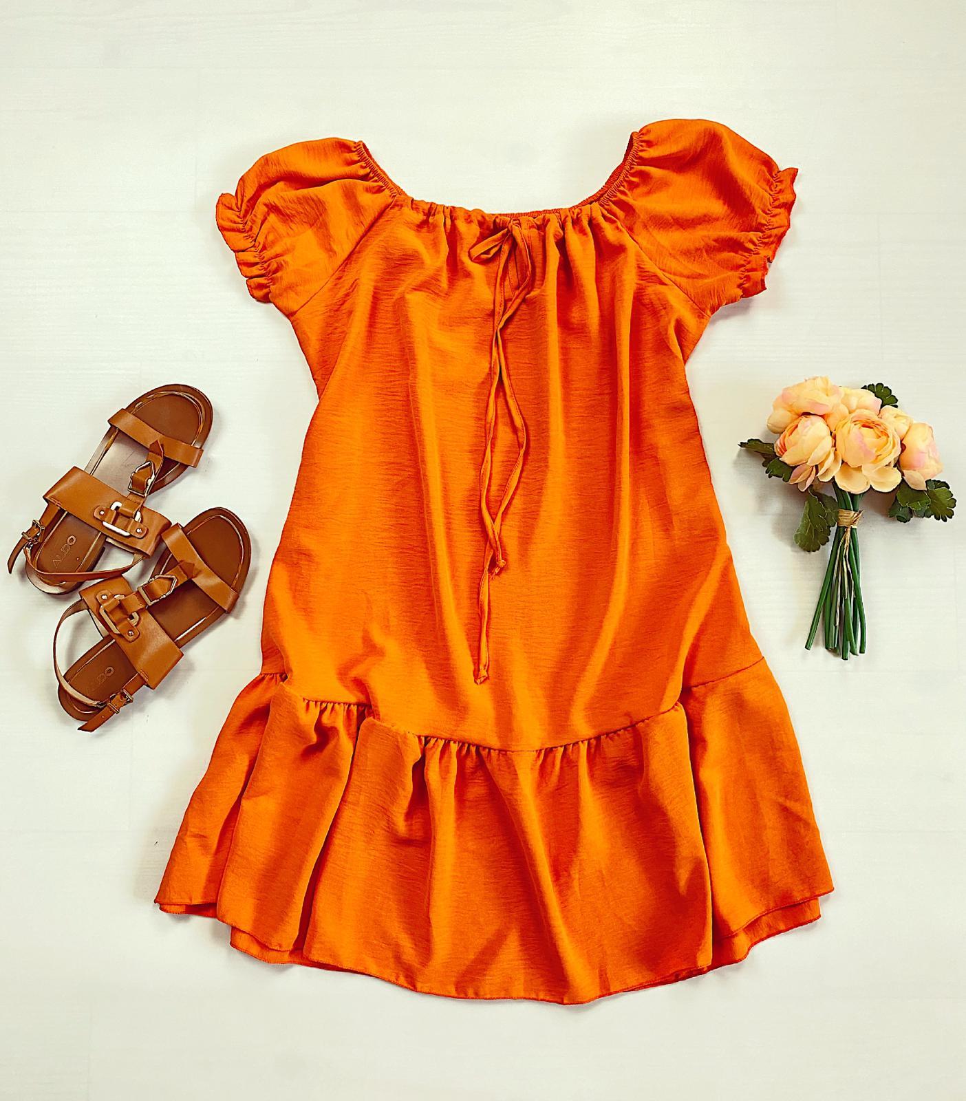 Rochie scurta portocalie de vara cu umeri bufanti