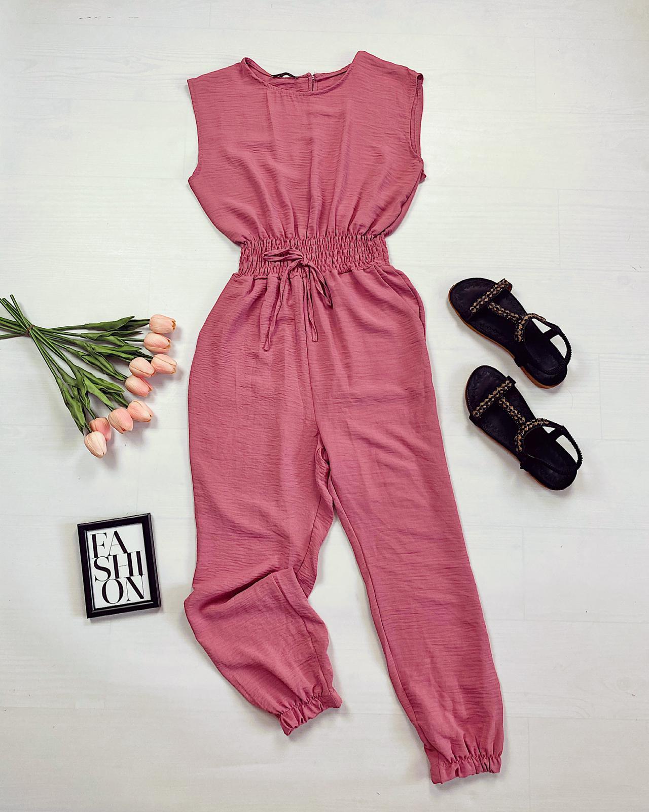 Salopeta lunga casual eleganta roz cu elastic
