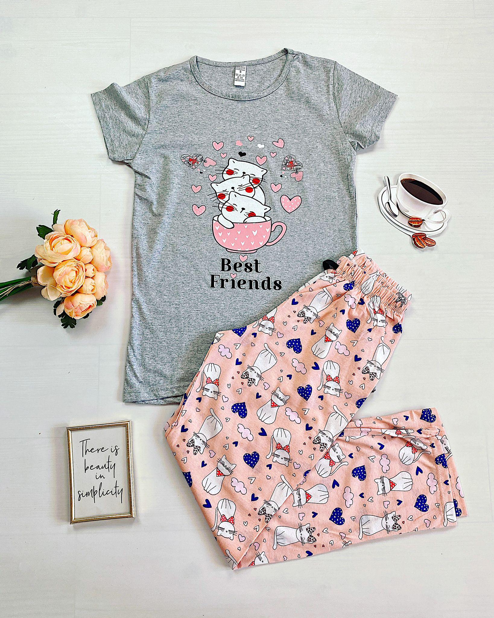 Pijama dama gri lunga cu imprimeu pisicute Bestfriends