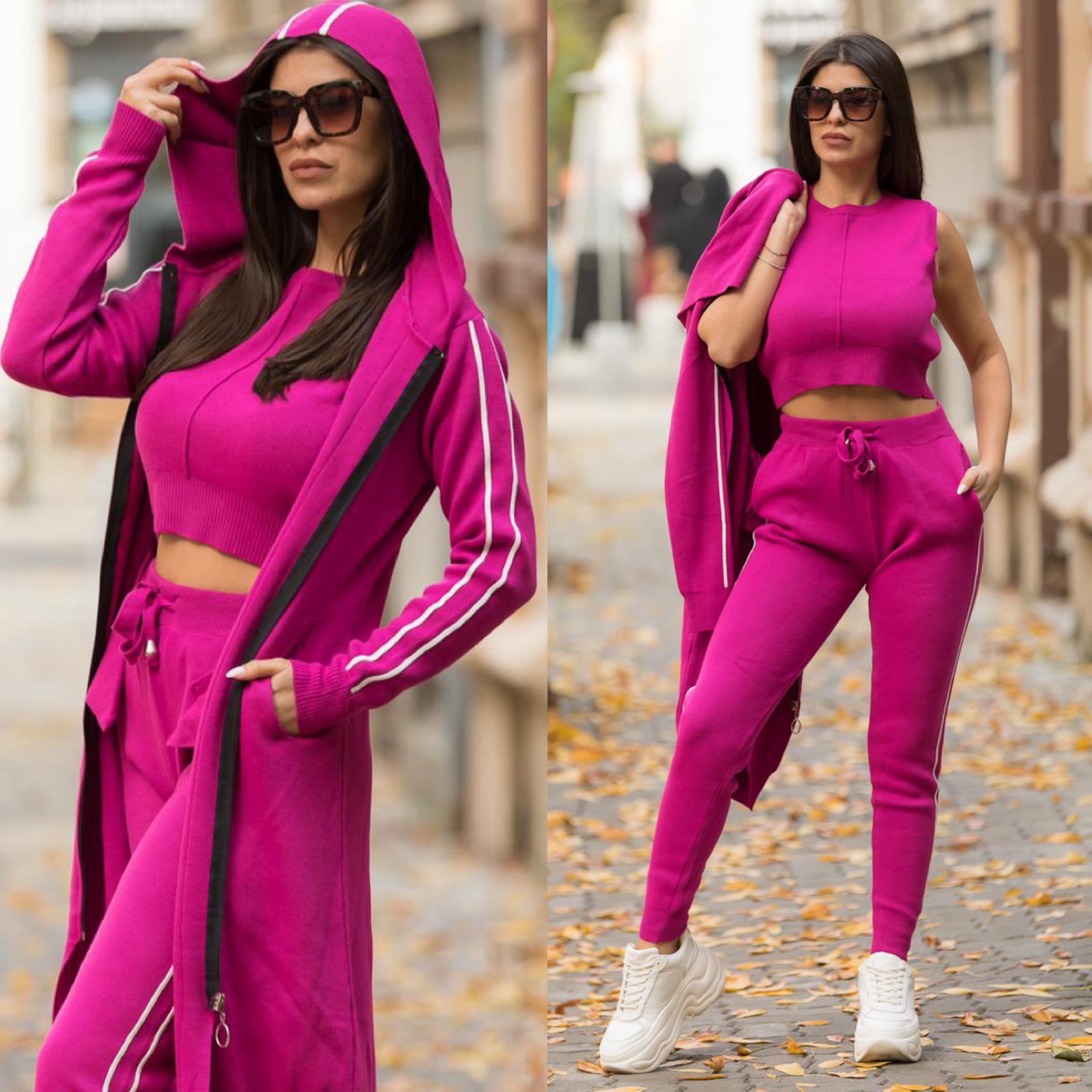 Compleu dama sport tricotat fuchsia alcatuit din 3 piese