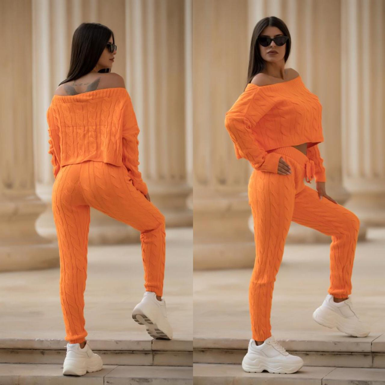 Trening dama orange din tricot casual