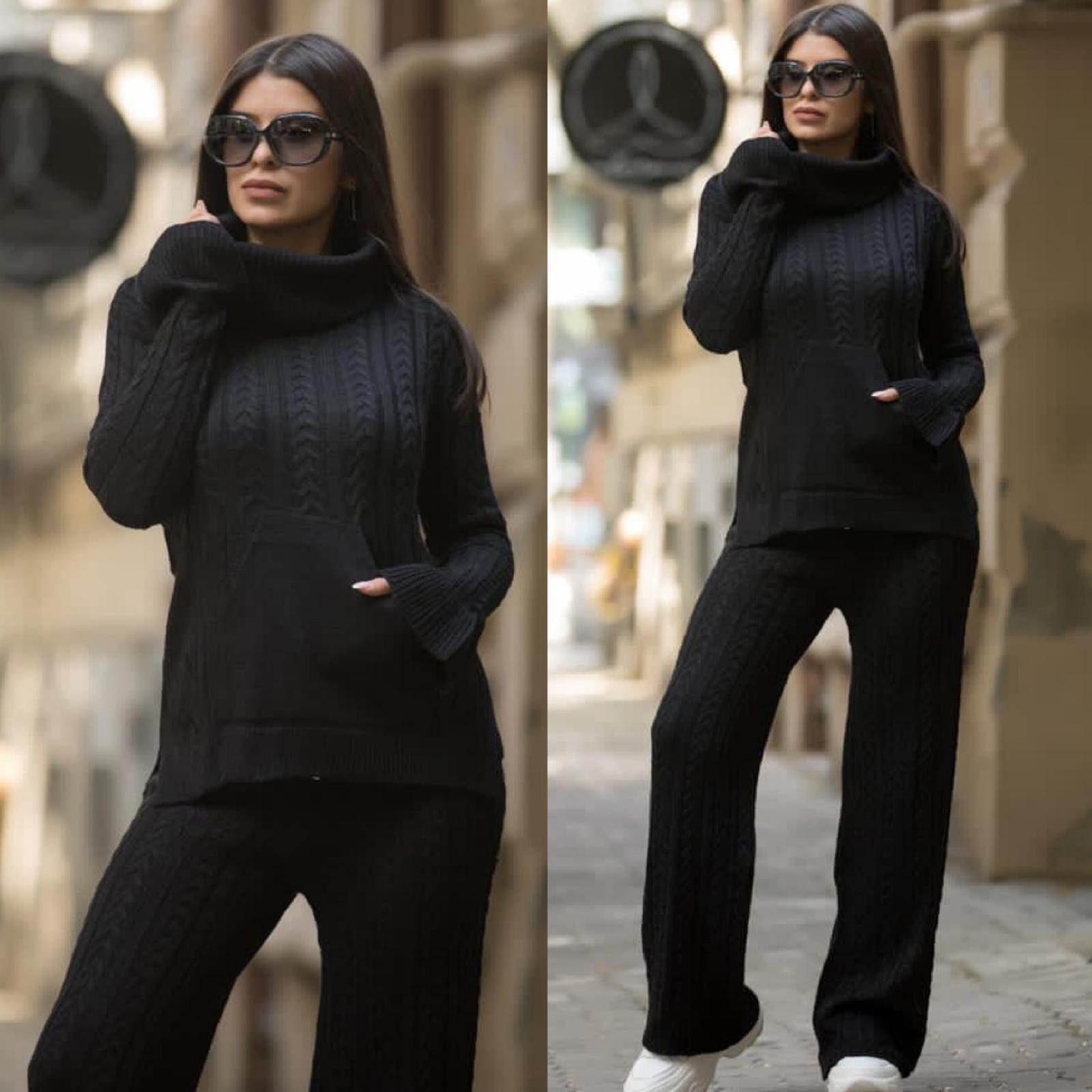 Compleu dama tricotat negru pe gat cu pantalon evazat