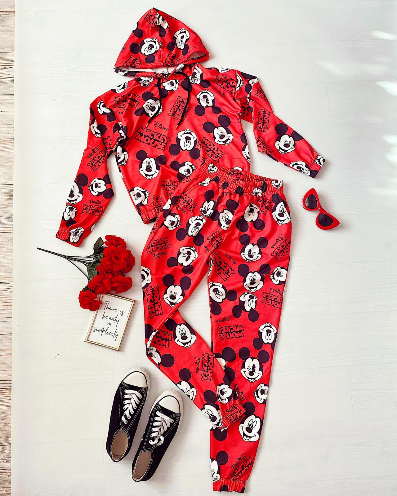 Compleu dama rosu bumbac cu imprimeu Mickey pentru primavara