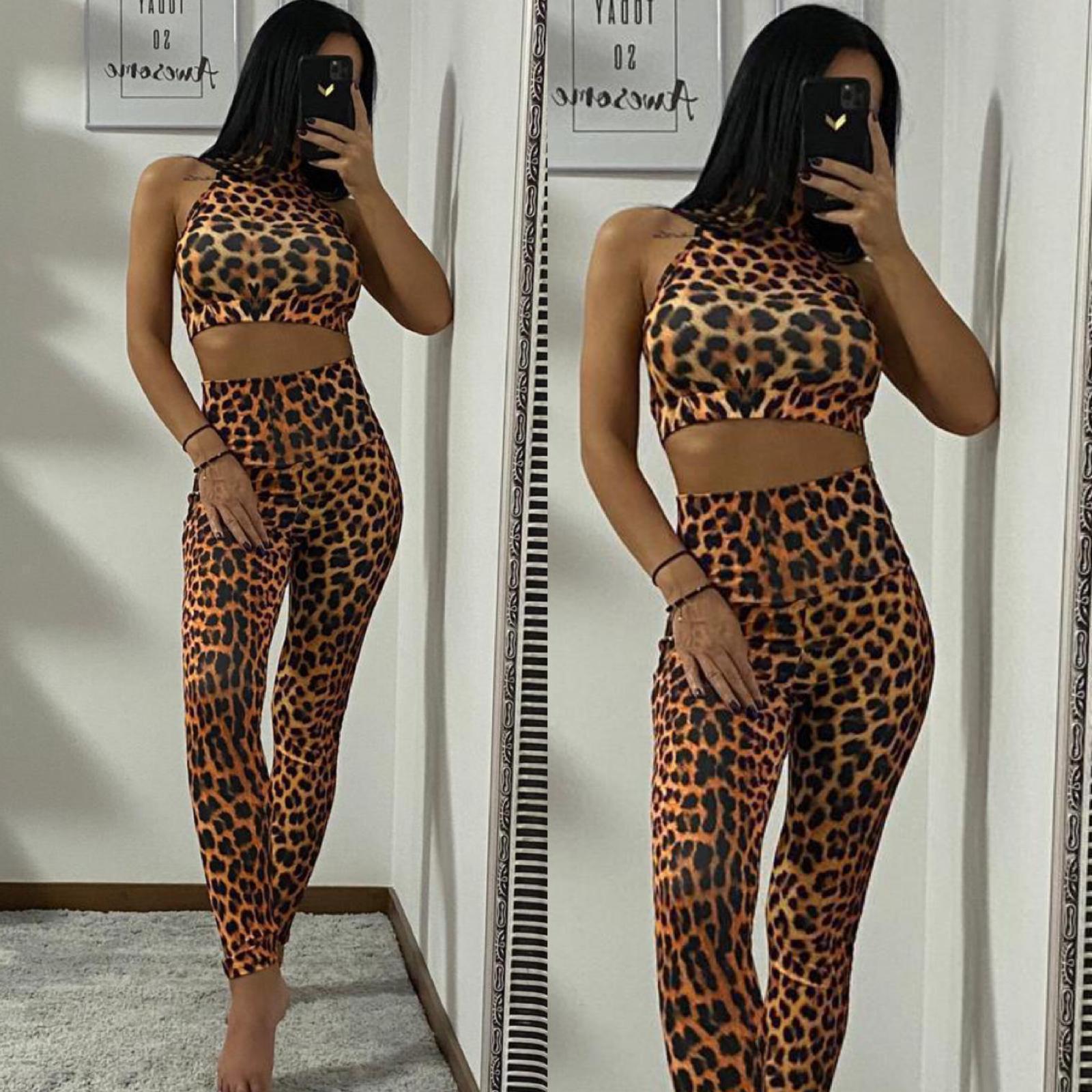 Set dama lycra top-colanti maro cu imprimeu Tiger