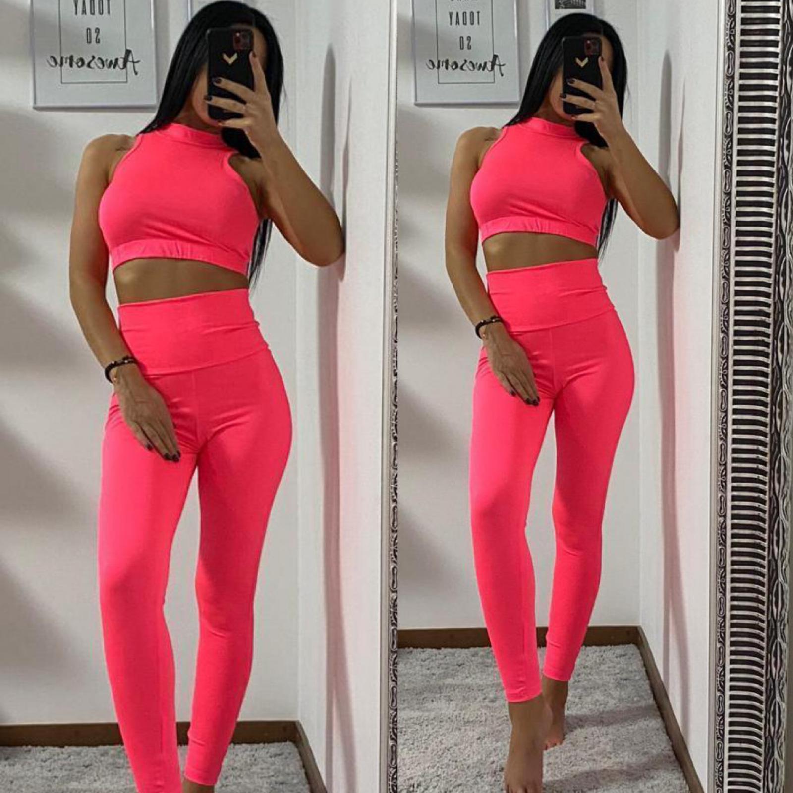 Set dama lycra top-colanti roz neon