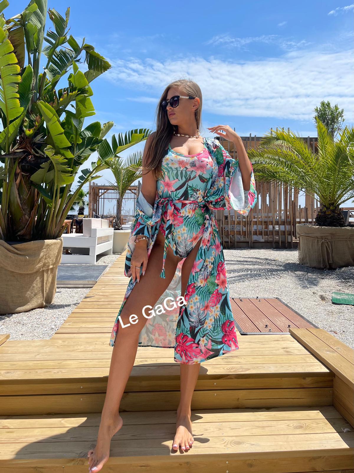 Set dama plaja Halat + Body cu imprimeu Tropical
