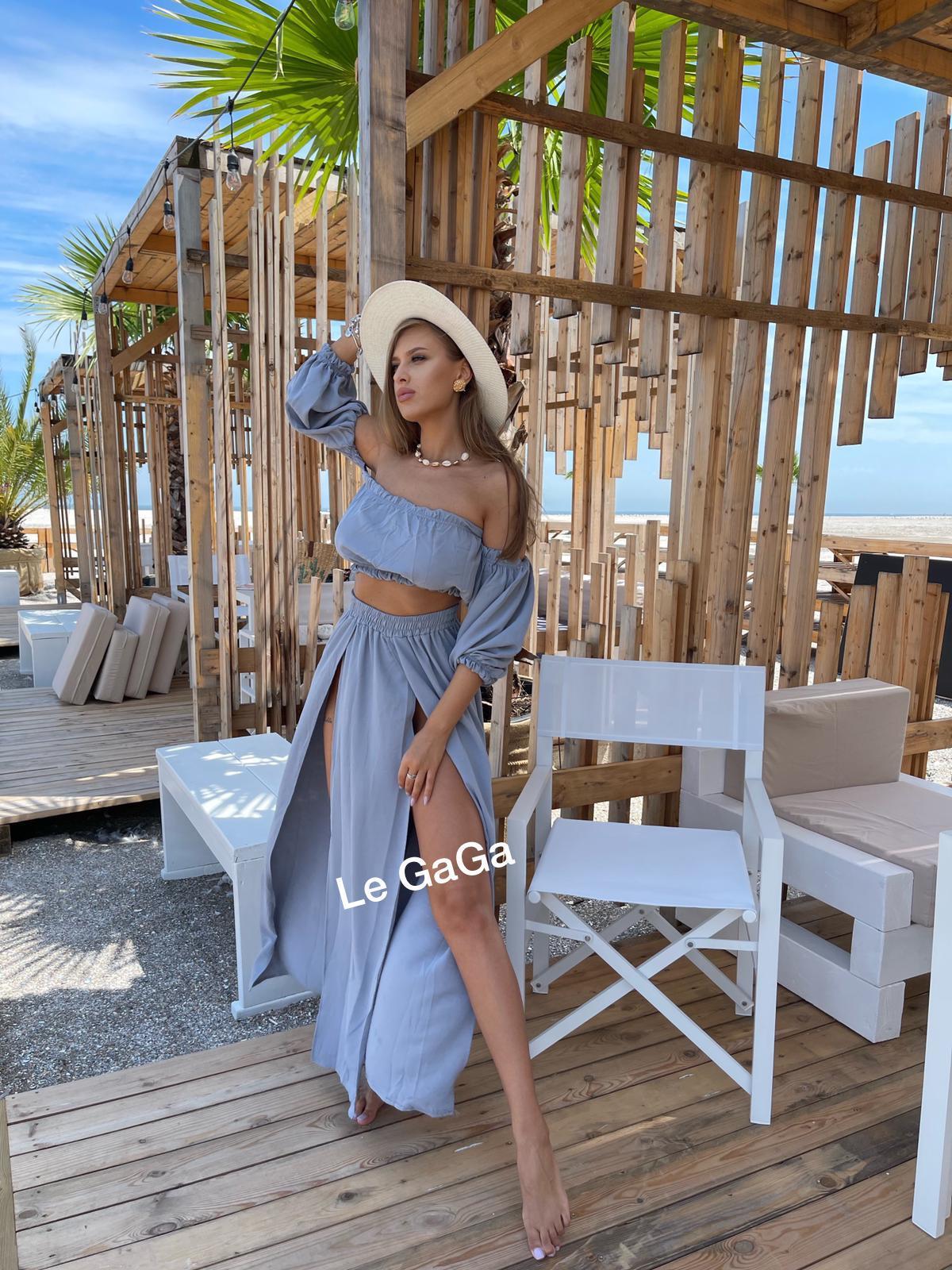 Set dama gri de plaja Bluza diafana - Fusta decupata