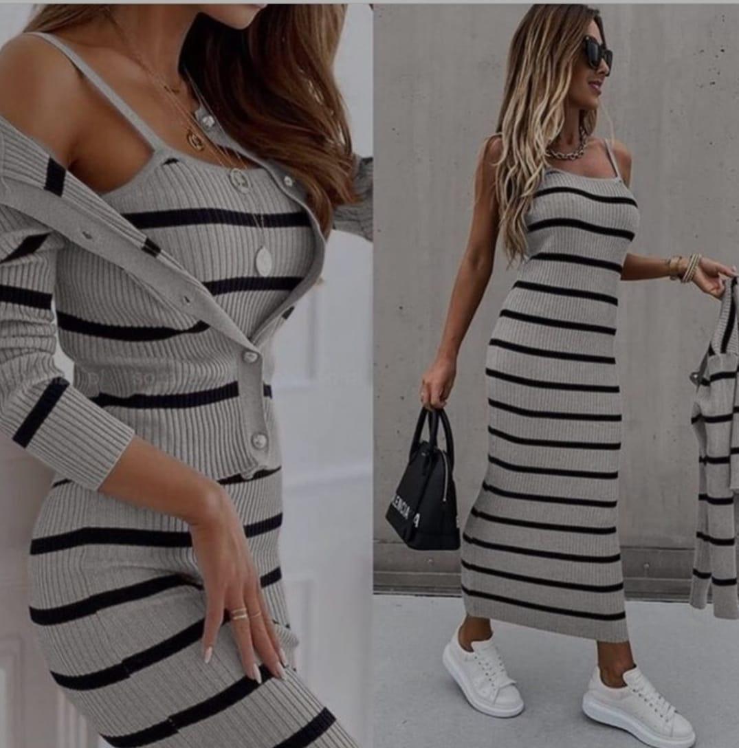 Set dama tricotat gri alcătuit din Rochie+Bluza