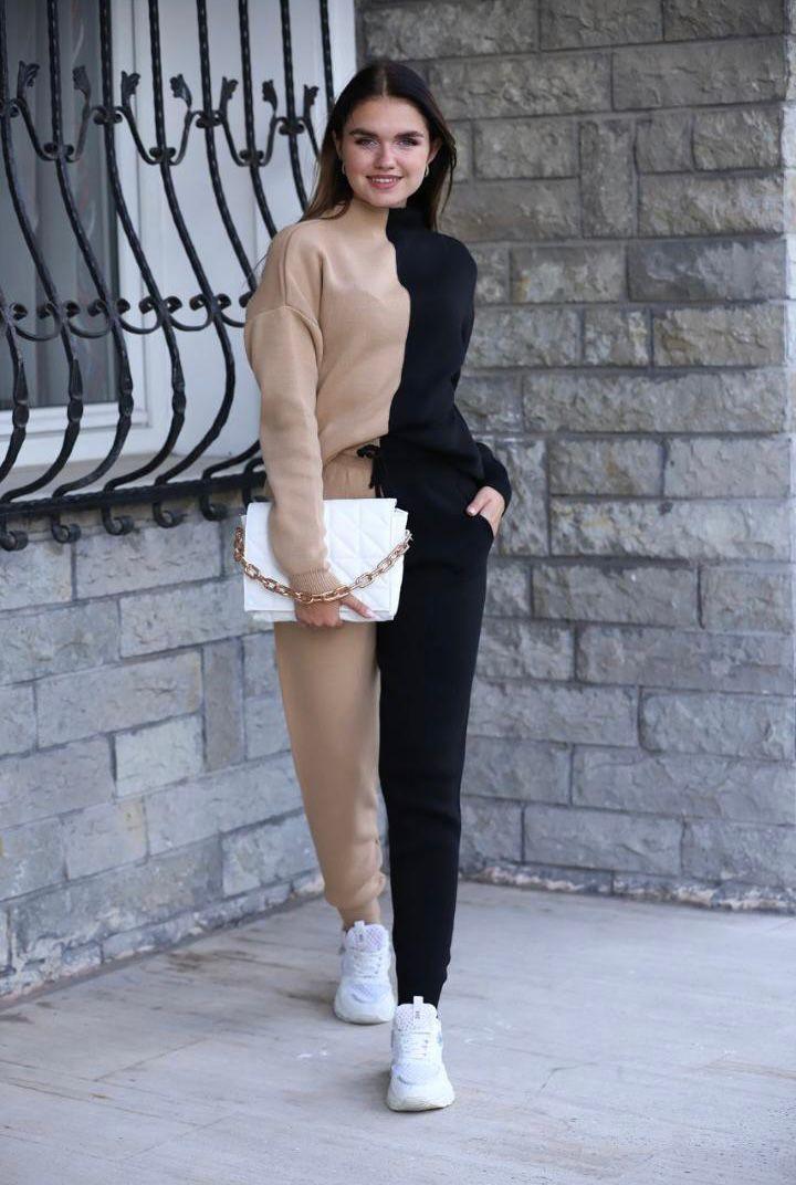 Compleu dama tricotat DUO Negru-maro
