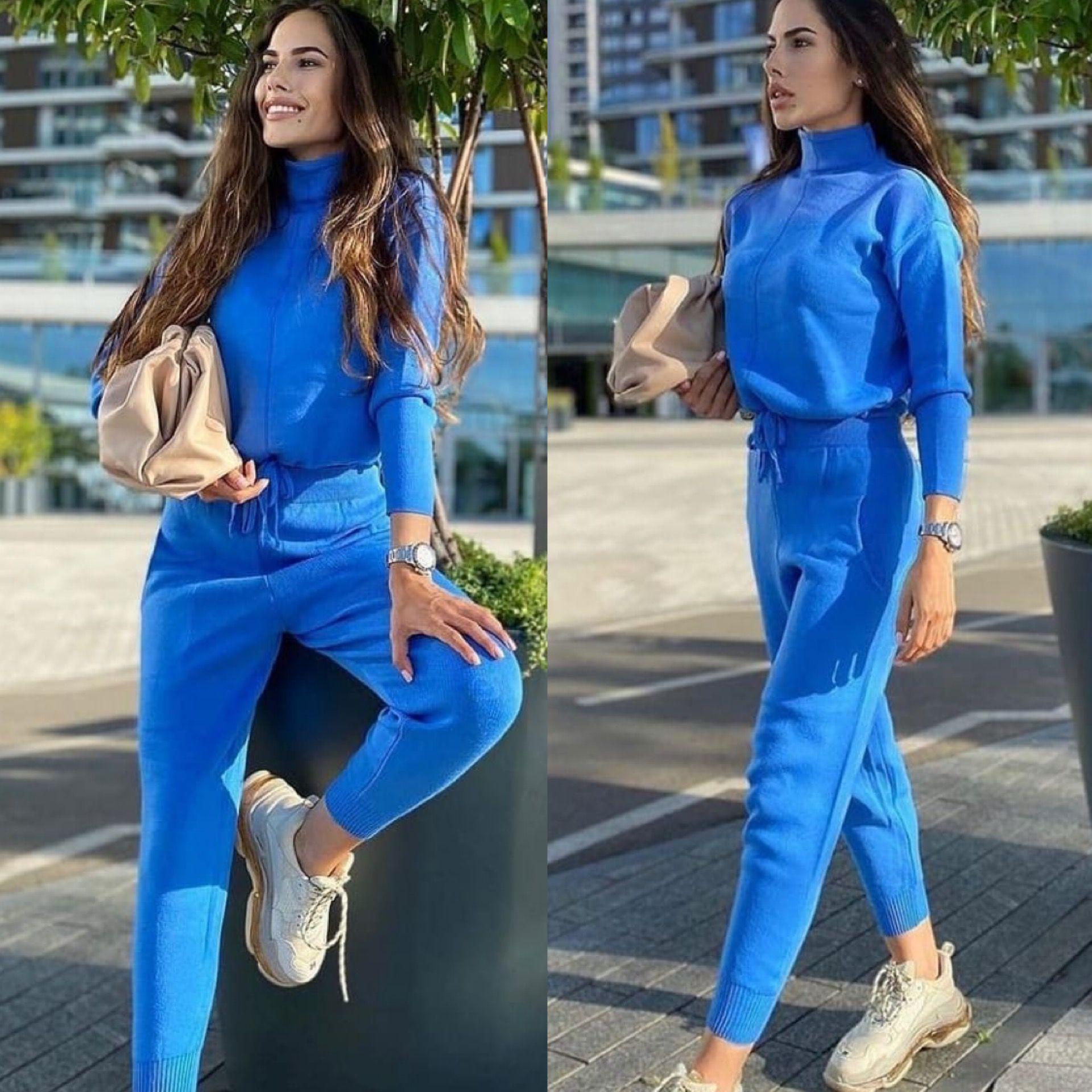 Compleu dama tricotat Albastru Clasic