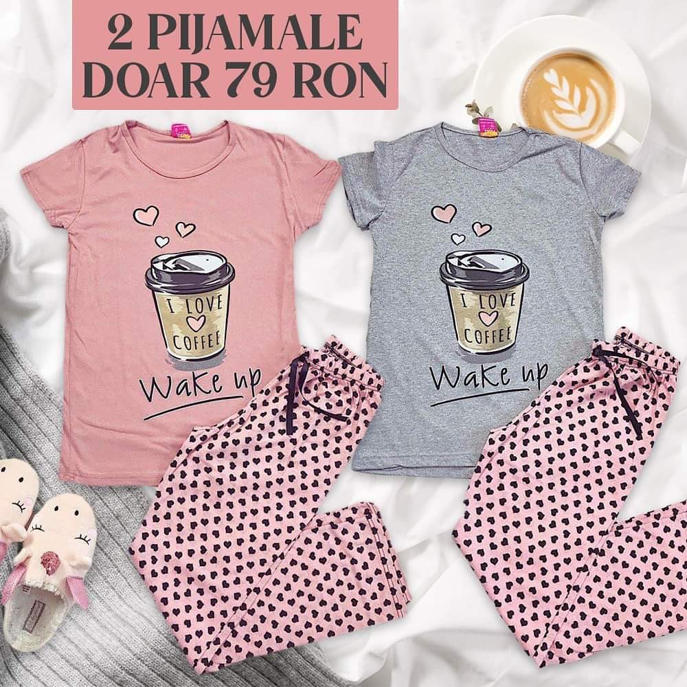 🎉🎈O pijama pe placul vostru: cu imprimeu COFFEE, care te duce cu gandul la dimineti savuroase ❤️ o gasesti pe site. Buna dimineata! 😇 @maroko.ro #morning #pink #coffee #sunday #sunnyday