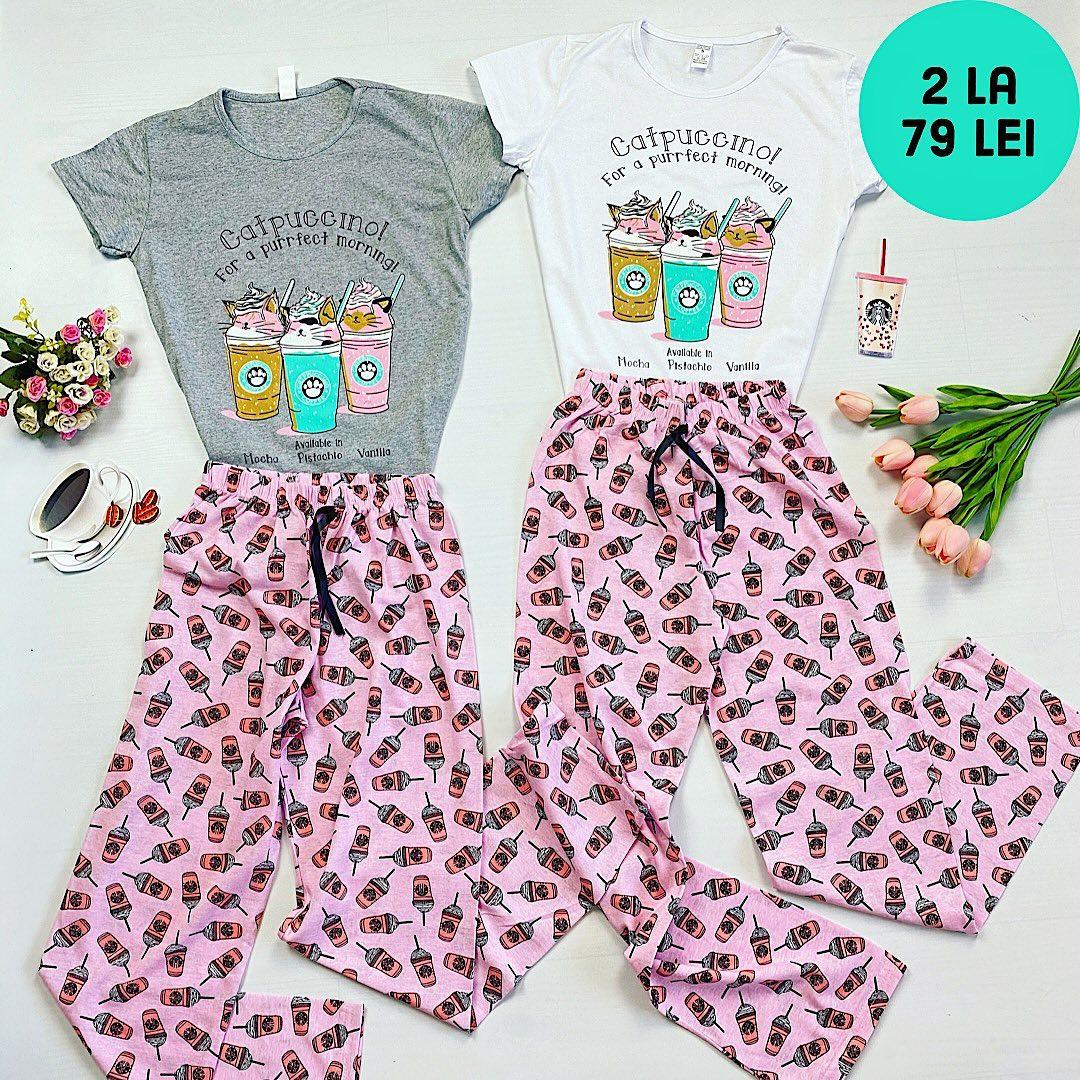 Catpuccino! 🐈☕️ Pijamale noi pentru dimineti perfecte. Tu ce aroma alegi? #cappuccino #pajamas #morning