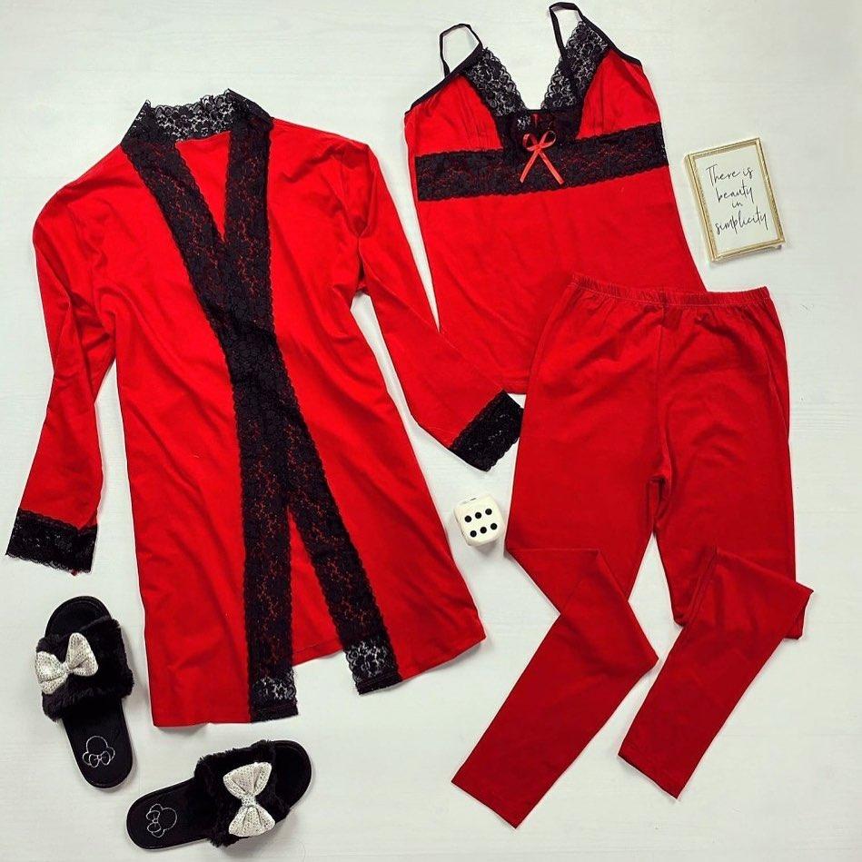 😍Compleuri pijama compuse din 3 piese: maiou, pantaloni si halat. Rosu pentru Paste 😍 #shoponline #sales #red #easter